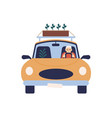 elderly man in glasses driving car with box vector image vector image
