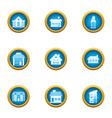 expensive house icons set flat style vector image