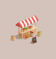 farm market low poly isometric vector image