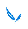 feather letter v abstract logo icon vector image