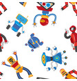 flat cartoon funny robots seamless pattern vector image