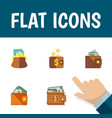 flat icon wallet set of wallet payment pouch and vector image