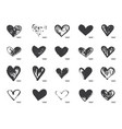 hand drawn calligraphy heart set isolated vector image vector image