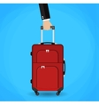Hand holding red travel bag vector image vector image