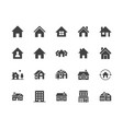 houses flat glyph icons set home page button vector image vector image