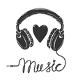i love music headphones with text isolated vector image