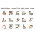 industrial production robot and computer control vector image