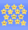 kawaii stars set face with eyes yellow color on vector image vector image
