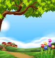 Landscape with small houses vector image