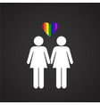 lgbt family female plus female on black background vector image