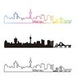 Macau skyline linear style with rainbow vector image vector image