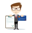 Man with an approved contract and credit cards vector image