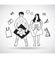 Man with woman couple naked sex relations black vector image vector image