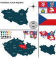 map of pardubice czech republic vector image vector image