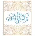 merry christmas hand lettering inscription on gold vector image