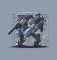 military exoskeleton controlled by man vector image vector image