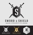 Modern Vintage Sward and Shield Logo Crest Design vector image vector image