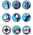 Nautical elements I icons in knottet circle vector image vector image