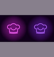 neon chef hat in purple and violet color vector image vector image