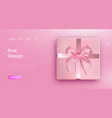 pink bow tie pink giftbox with ribbon bow vector image vector image
