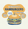 retro fast food hamburger poster hand drawn food vector image
