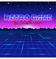 Retro styled futuristic landscape with mountains vector image vector image