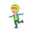 roller skating boy kid in rollerblades colorful vector image vector image