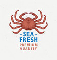 seafood vintage label with red crab hand drawn vector image