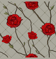 seamless pattern twigs and roses vector image vector image