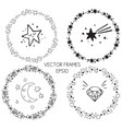 set of graphic circle frames wreaths for vector image vector image