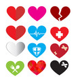 set of heart symbol vector image