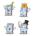 set of iphone character with clown king crazy vector image vector image