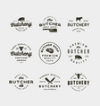 set of vintage butchery logos vector image