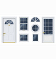 set white classic windows and doors vector image vector image