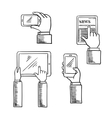 sketch hands with smartphones and tablets vector image vector image