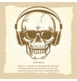 Skull sketch with headphones vintage style vector image