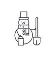 snowman line icon concept snowman linear vector image vector image