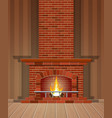 winter interior bonfire fireplace made of bricks vector image vector image