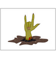 zombie hand horns satan sign out of ground vector image vector image