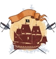 Pirate ship and a badge with sabers vector image