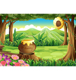 A stump at the jungle with a big pot of honey vector image vector image