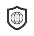 ashield icon with a world globe vector image vector image