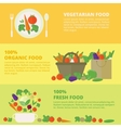 banners card with fresh fruits and vegetables vector image vector image
