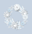 beautiful white flowers wreath isolated on grey vector image