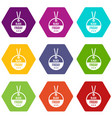 black friday sale tag icon set color hexahedron vector image
