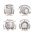 brewery emblem barrel of beer and wine whiskey vector image
