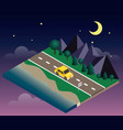 car travaler on the road near the beach and forest vector image vector image