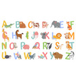 cartoon animals alphabet for kids learn letters vector image
