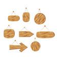 cartoon brown wooden plates vector image vector image