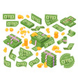 cartoon money dollar bills banknotes stack pile vector image